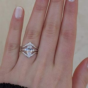 Sterling Silver Marquise 3 ring bridal set